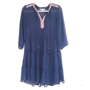 Sheer navy Swiss dot and embroidered dress